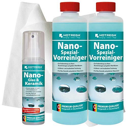 HOTREGA Nano Glas & Keramik Set, Oberflächenveredelung, Vorreiniger, Poliertuch - Nanotechnologie, Glasschutz