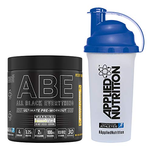 Applied Nutrition Bundle ABE Pre Workout 315g + 700ml Protein Shaker | All Black Everything Preworkout Boosts Energy & Performance with Citrulline, Creatine, Beta Alanine (Mystery Flavour)