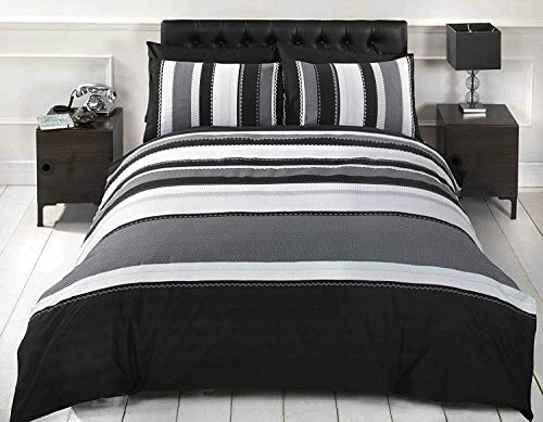 Rapport Striped Grey King Quilt Duvet Cover & 2 Pillowcase Bed Set Adults Teenagers, Cotton and Polyester