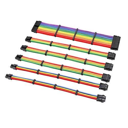 Cobeky Kit de cable de extensión básico, colores arcoíris, 1 unidad Atx 24 pines/Eps 4+4 pines/2 piezas Pci-E 6 pines/2 cables de extensión de 6+2 pines.