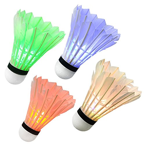 Leezo Bunte LED-Badmintonbälle Dunkle Nachtbeleuchtung Federball Zubehör für Outdoor Indoor Sport Aktivitäten 1 Stück/4 Stück, Mixed color-4pcs
