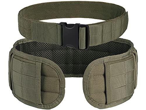 OneTigris Tactical Battle Belt - Quick Release MOLLE Belt Tactical Padded Patrol Range War Belt Combat Airsoft Belts Utility Gun Belt for Men, Green