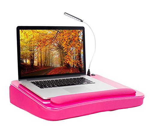 Sofia + Sam Lap Desk with USB Light (Pink) - Memory Foam Cushion - Supports Laptops Up to 17 Inches