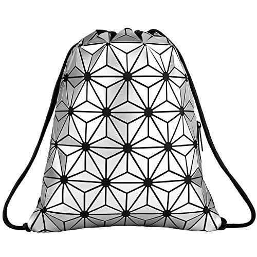 Segorts Geometric Lingge Drawstring Bag Gym Bag Sport Backpack Shoulder Bags Outdoor Daypack Travel College Rucksack for Women Men (Silver)