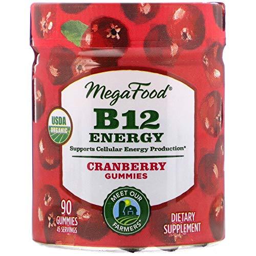 MegaFood, Certified Organic B12 Energy Cranberry Gummies, Soft Chew Vitamin B12 Supplement for Cellular Energy Support, Gluten Free, Vegan, 90 Gummies (45 Servings)