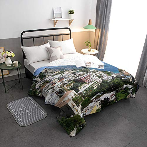 Fantastic Deal! Advancey Reversible Lightweight Bedspread Coverlet Positano Scenery Super Soft Washa...