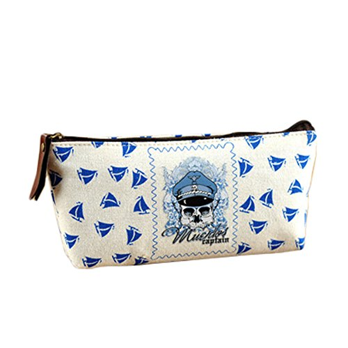 Set of 4 Pirates Pencil Case Stationery Supplies Pouch Pen Bag Best Gift Blue