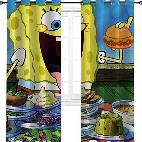 Aotuma Bob Esponja Eats Burger TV Película Cortinas opacas para dormitorio con ojales, aislantes térmicos, oscurecimiento de habitaciones, para sala de estar, 160 cm de ancho x 183 cm de largo