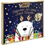 BIC Calendrier de l'Avent - 24 Produits d'Écriture, 6 Feutres Magiques/6 Crayons de Couleurs/4 Craies de Coloriage/1 Tube de Colle/1 Crayon à Papier/1 Gomme/3 Stylos-Bille, 24 Cartes et 20 Stickers