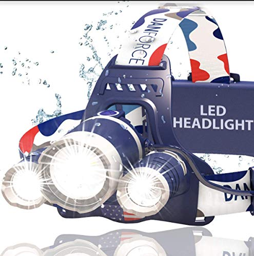 DanForce Headlamp. USB Rechargeable LED Head Lamp. Ultra Bright CREE 1080 Lumen Head Flashlight + Red Light. HeadLamps for Adults, Camping, Outdoors & Hard Hat Work. Zoomable IPX45 Headlight