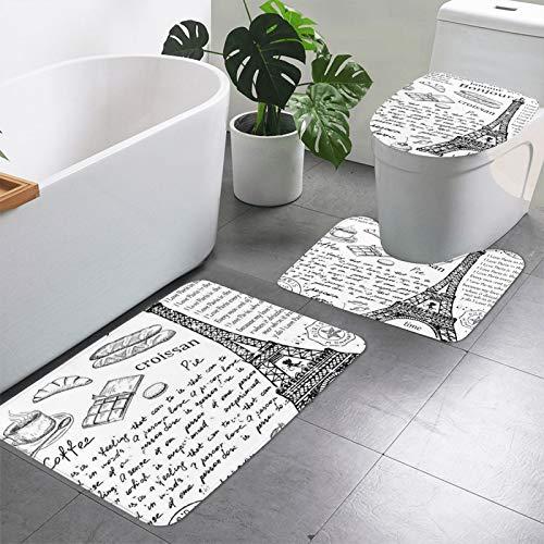 Juego de 3 alfombras de baño con estampado de la Torre Eiffel Parisina, alfombra de contorno en forma de U, tapa de inodoro y alfombra rectangular antideslizante para bañera y...