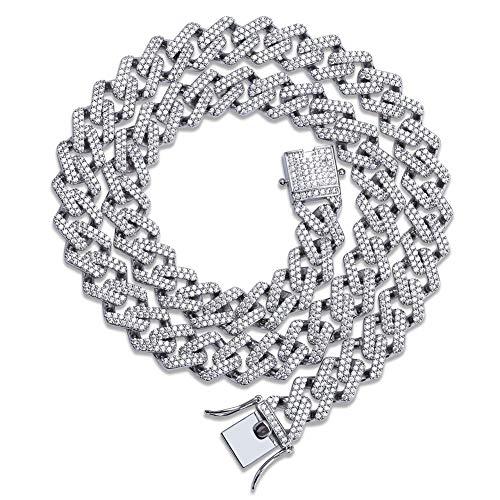 ZFYM Collar de Diamantes de los Hombres en Forma de Hip Cadena Cubana circones los Hombres de Hip Collar de imitación Brillante de Accesorios de Moda para los Amantes de Hip Hop,White Gold, 22 Inch