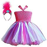 Trolls Costumes Little Girls Princess Poppy Cosplay Birthday Halloween Toddler Kids Baby Tutu Dresses with Headband Rose Red