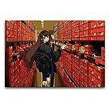 ZSBoBo Pelo largo chica en la tienda de zapatos póster decoración pintura y pintura artística sin marco, pasilloBaile gimnasio/sala de estudio Decoración de pared