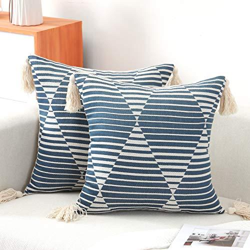 Funda Cojin 45x45 Algodon Azul Fundas de Cojines Geometricas Decorativos Funda Almohada Decorativa con Borla 2pcs Cushion Cover para Cama Sala de Estar Dormitorio Sofá Silla Coche
