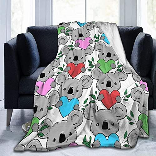 Manta de Felpa Suave Cama Corazón de Hojas de Koala Manta Gruesa y Esponjosa Microfibra, Suave, Caliente, Transpirable para Hogar Sofá , Oficina, Viaje
