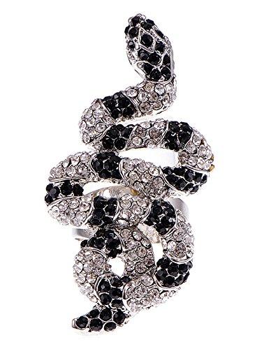 Alilang Womens Verstellbare Silber Ton Clear Schwarz Strass Gestreiften Schlange Ring