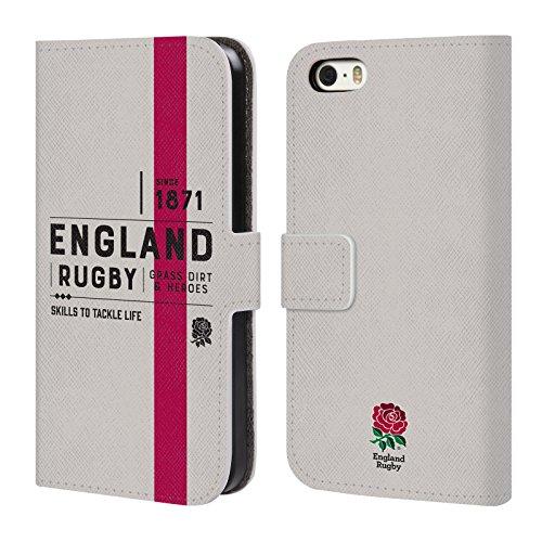 Head Case Designs Official England Rugby Union Desde 1871 History Carcasa de Cuero Tipo Libro Compatible con Apple iPhone 5 / iPhone 5s / iPhone SE 2016