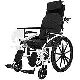 Jjwwhh Rollstuhl,für ältere und behinderte Menschen, Selbstfahren, aus Stahl, Leichtgewicht, Pflegerollstuhl mit Liegefunktion, Beinstütze, Kopfstütze
