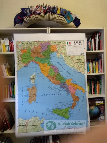 librolandia cartina italia fisica politica 100x140