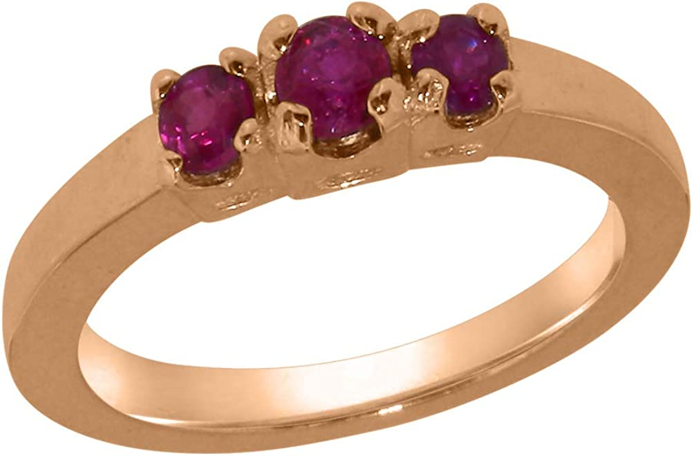 18k Rose Gold Natural Ruby Womens Trilogy 12 to Ring 4 A Sizes Year-end gift Indianapolis Mall -
