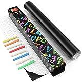 Arteza Pizarra adhesiva negra para tizas | Rollo de 45 cm x 5 m | Incluye 8 tizas | Adherencia...