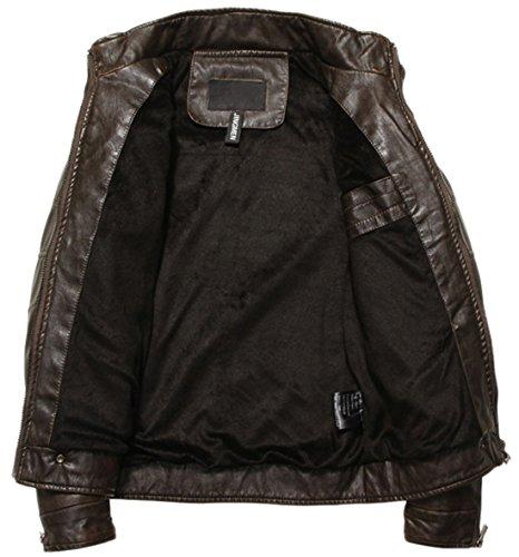 chouyatou Men's Vintage Stand Collar Pu Leather Jacket (Medium, Coffee)