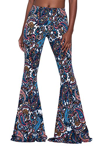 Herose Tall Ladies S-2XL Soft Pattern Bell Bottoms Floor Length Ethnic Boho Flared Pants, Paisley, XX-Large
