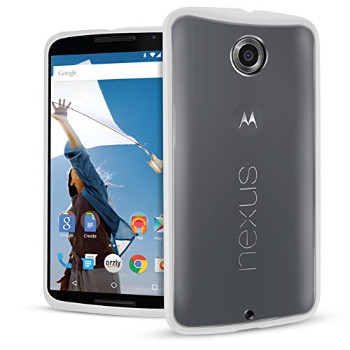 Nexus 6 Case, Orzly - Fusion Bumper Case for Nexus 6 (2014 Model Google Nexus 6 Smartphone by Motorola) - Protective Hard Back Cover with Impact Absorbing Edges - 100% Clear with White Rim