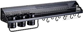 Étagère Murale de Cuisine Casier à épices Noir Support de Rangement Mural Aluminium avec 10 Crochets détachables Coupe à C...