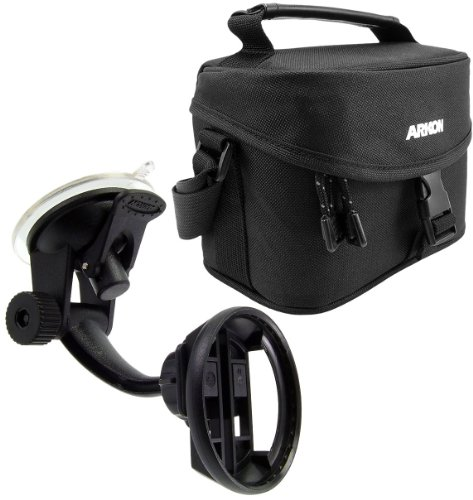 Arkon GPSTT115 TomTom Travel Kit - Windshield and Dash Mount with Carry All for GPS, Charger and Mount (Black)
