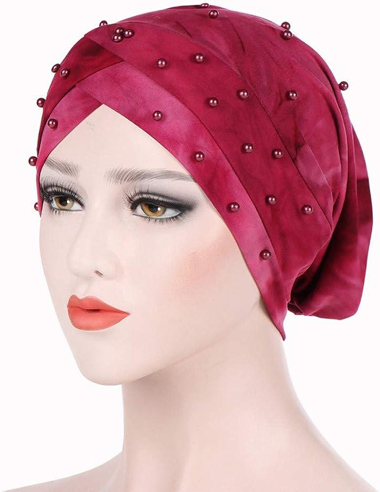 GreatestPAK Damen Einfarbig Zopf Kopf Mütze Kopftuch Hijab Druck Rüsche Turban Wein_7