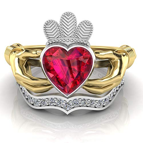 Jbr Claddagh - Anillo de plata de ley para mujer, anillo de eternidad, anillo de compromiso apilable