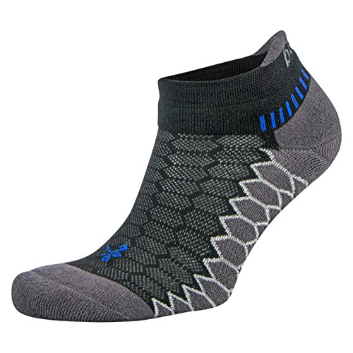 Balega Silver Antimicrobial No-Show Compression-Fit Running Socks for Men and Women (1-Pair), Black/Carbon, Medium