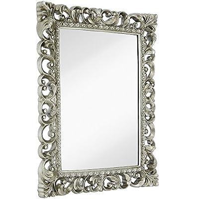 "Hamilton Hills Antique Silver Ornate Baroque Frame Mirror   Elegant Old World Feel Plate Glass Mirrored Design   Hangs Horizontal or Vertical (28.5"" x 36.5"")"