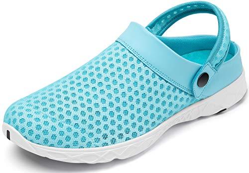 SAGUARO Zuecos para Hombre Mujer Zapatillas de Playa Respirable Malla Ahueca hacia Fuera Las Sandalias Verano Zuecos de Jardín Antideslizante, 081 Azul, 43 EU