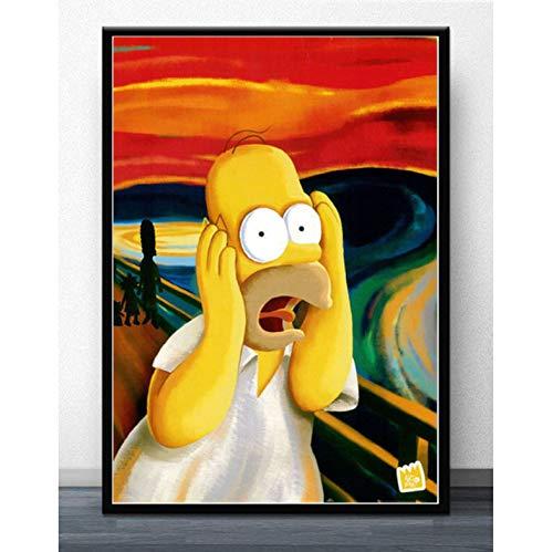 tgbhujk Wandkunst Die Simpsons Scream Anime Cartoon Comics Simpson Poster Bild Poster Und Drucke Leinwand Malerei Für Room Home Decor 50 * 75 cm Ohne Rahmen