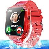 Kids Waterproof Smart Watch Phone Girls Boys Smartwatch with LBS Tracker Two Way Call SOS Micro Chat Camera Anti-Lost Math Game Touch Screen Games Alarm Clock Gizmo Watch Birthday Gifts (IP68 Red)