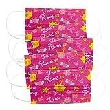 CRAZE 5er Set bedruckte Mundmaske für Kinder Einwegmaske Gesichtsmaske 3-lagig Maske mit Motiv Gesicht und Nase Kindermaske Little Princess Prinzessin 31742, 5er Kinder Princess 31742