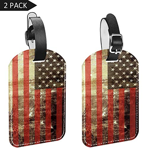 PU Leather Luggage Tags 2PCS with Dirty USA Flag for Suicase Travel Bag Baggage ID Tag