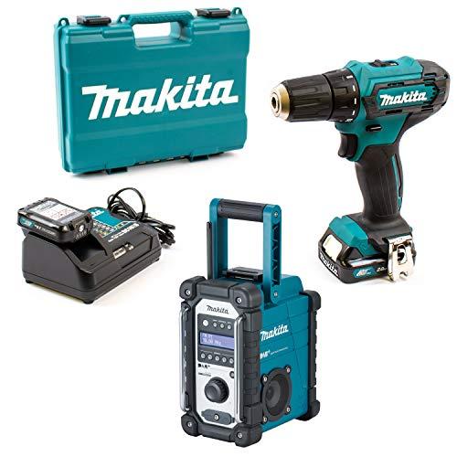 Makita Baustellenradio DMR110 + Bohrschrauber DF333DSAE 2x 2,0Ah Lader im Koffer