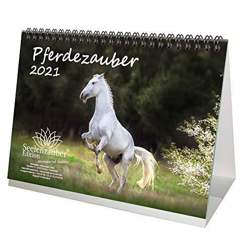 Pferdezauber DIN A5 Tischkalender für 2021 Pferde und Fohlen - Geschenkset Inhalt: 1x Kalender, 1x Weihnachts- und 1x Grußkarte (insgesamt 3 Teile)