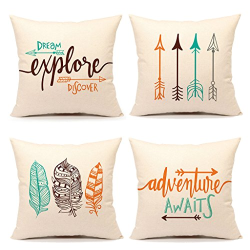 Inspirational Quote Throw Pillow Case Cushion Cover Decorative Cotton Linen 18' x 18' Set of 4(Adventure Awaits,Dream Explore Discover, Ethnic Arrows, Feathers)