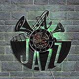 WERWN Jazz Disco de Vinilo Reloj de Pared diseño Moderno retroiluminación LED Reloj Que Cambia de Color Reloj de Pared 3D decoración de la Pared
