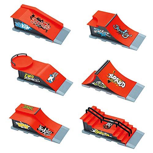 HKYMBM Skate Park Kit, 6Pcs Kit De Rampa De Diapases Más Grande Mini Dedo Parque De Monopatín para Patinetas para El Dedo Parque Ultimate Parques De Entrenamiento