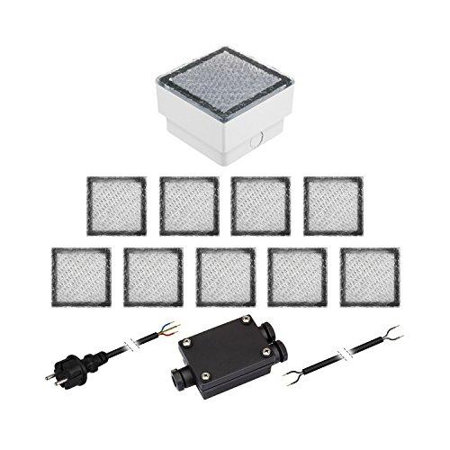 parlat 10er-Set LED Pflasterstein CUS Bodenleuchte für außen, warm-weiß, IP67, 230V, 10x10cm