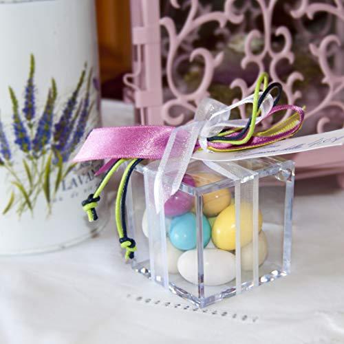 Omada Design Scatolina Portaconfetti in Plexiglass, 24 pezzi, Cubo formato 6 x 6 x 6 cm, Bomboniere trasparenti, idea regalo per cerimonie, con Coperchio, Colore Trasparente