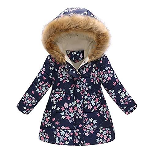 Kushuang Chaqueta de plumón para bebé, Chaqueta de Invierno para niña, Chaqueta de Punto con Capucha, Ropa Infantil, Abrigo Grueso de Forro Polar, Capucha cálida, 2-11 años
