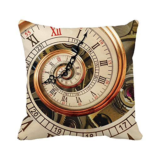 Throw Pillow Cover Reloj Antiguo Antiguo Reloj Espiral Fractal Abstracto Mecanismo clásico Funda de Almohada Funda de Almohada Cuadrada Decorativa para el hogar Funda de cojín