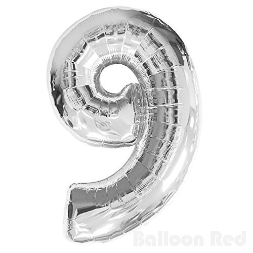 40 Inch Jumbo Helium Foil Mylar Balloons (Premium Quality), Glossy Silver, Number 9 by Balloon Red